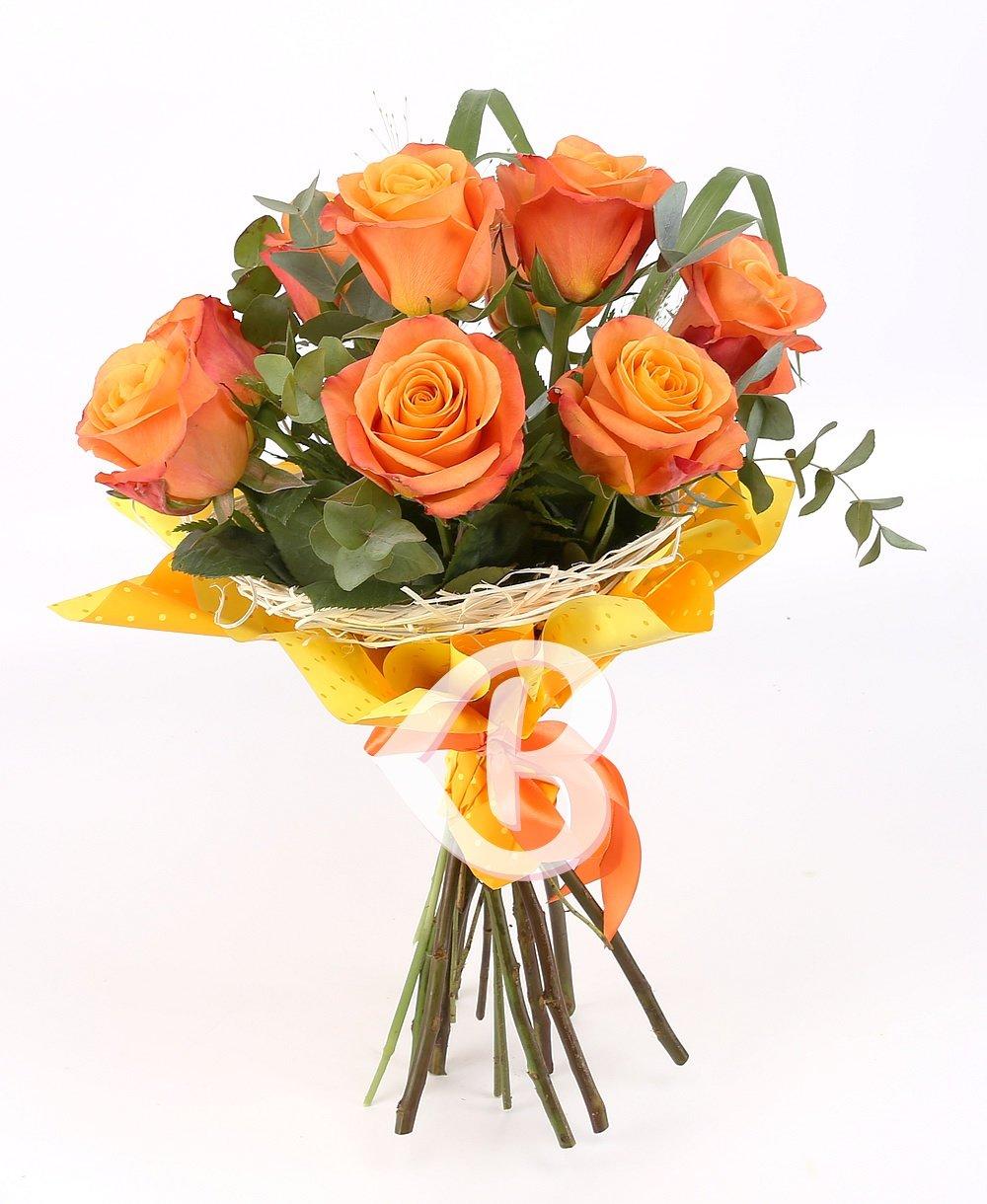Imaginea produsului 9 Trandafiri Portocalii Ornați
