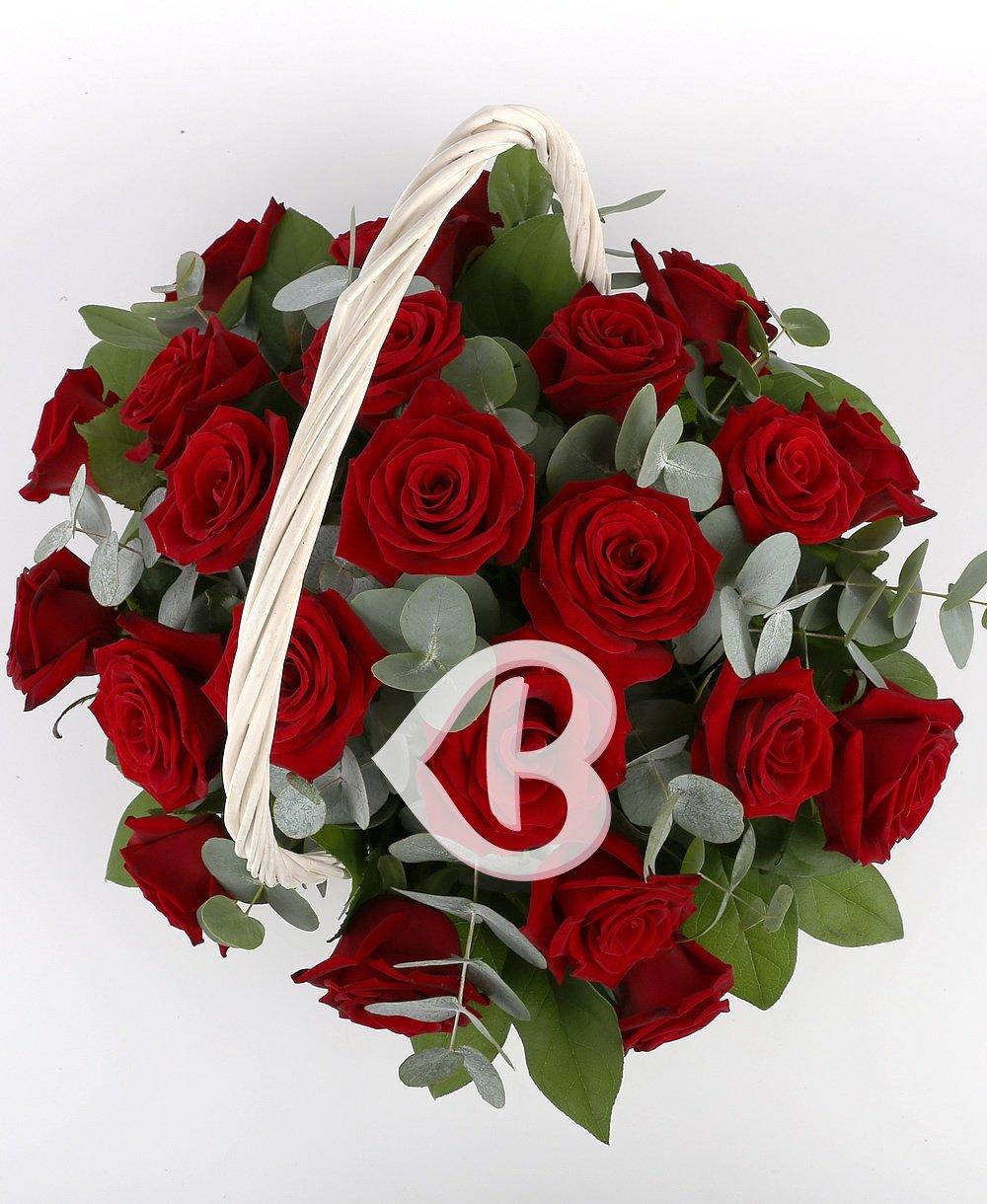 Imaginea produsului 23 trandafiri roșii în coșuleț