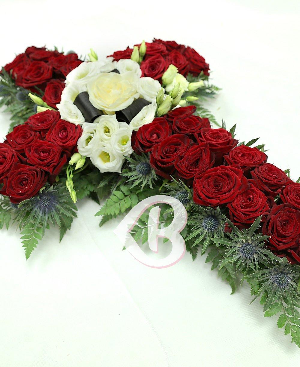 Imaginea produsului Cruce Funerară Trandafiri și Lisianthus