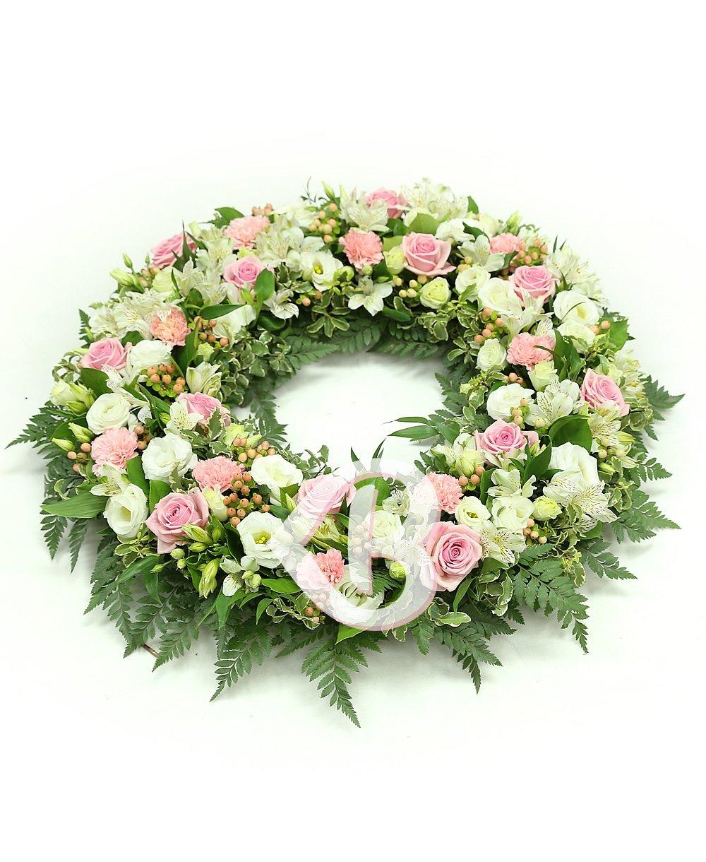 Imaginea produsului colac funerar alb și roz