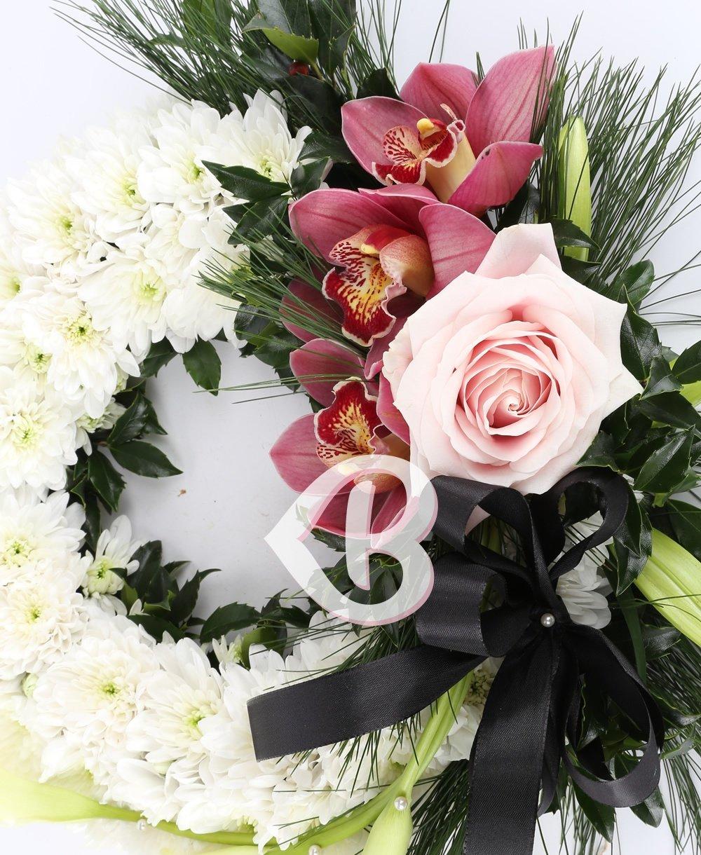 Imaginea produsului Colac Funerar Crizanteme și Orhidee Grena