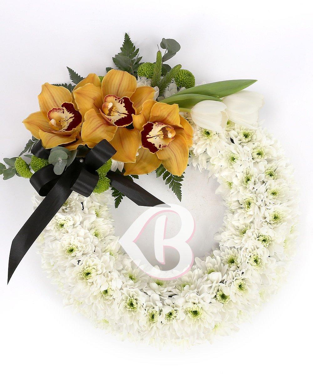 Imaginea produsului Colac Funerar Crizanteme și Orhidee Galbene
