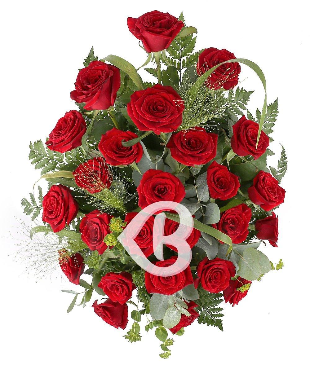 Imaginea produsului 25 trandafiri ornați in coș florentin