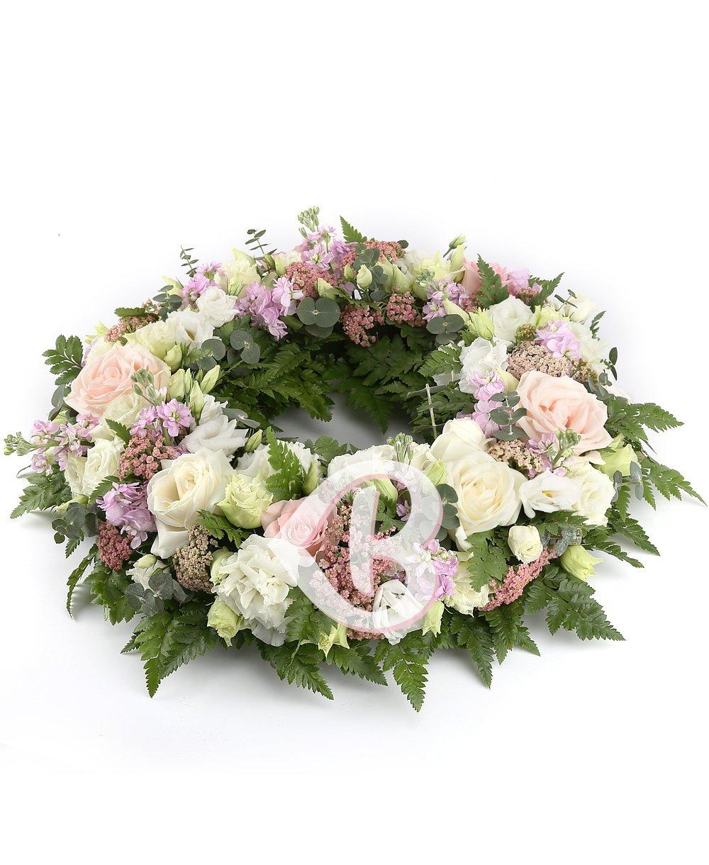 Imaginea produsului Colac Funerar Trandafiri şi Lisianthus