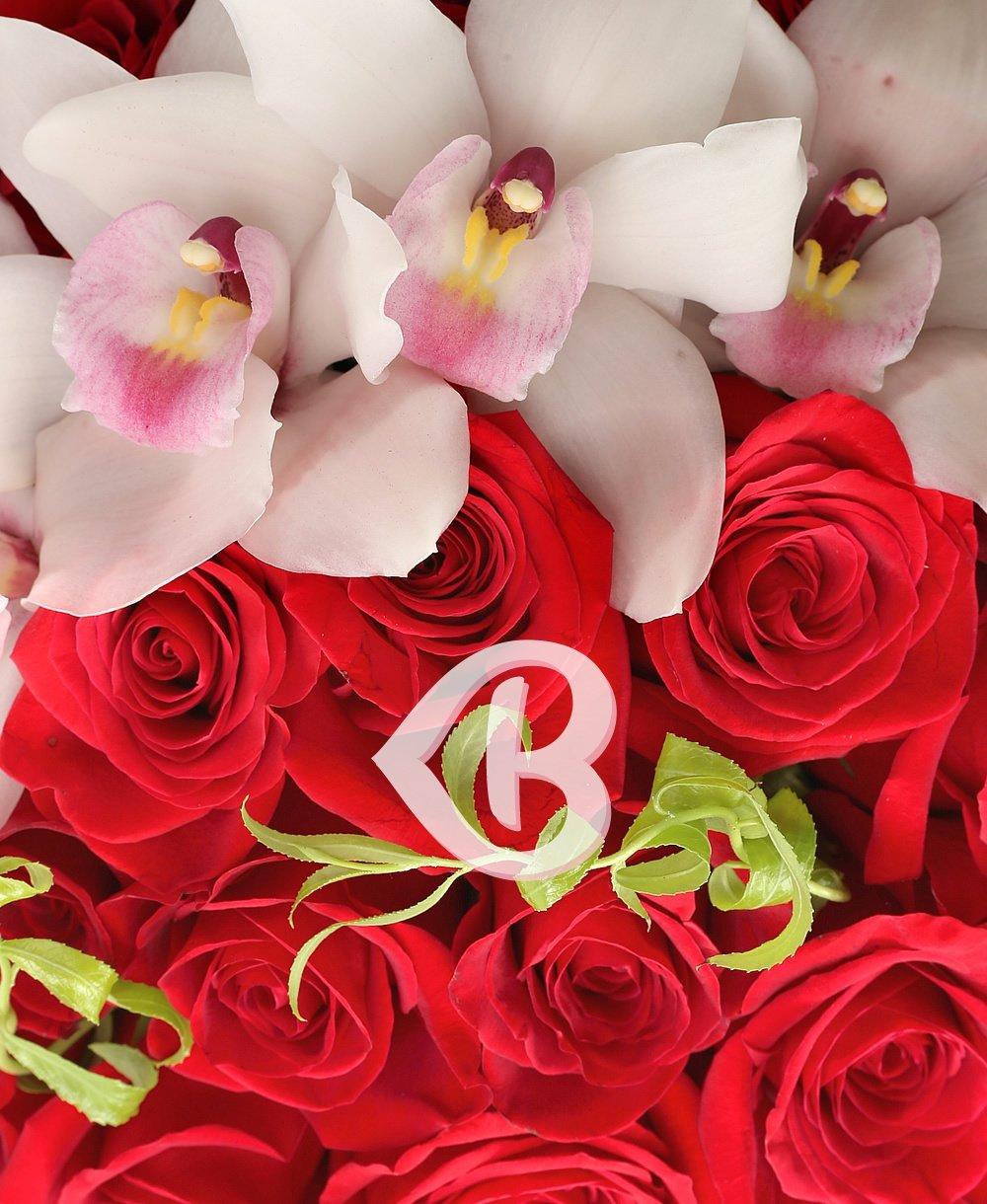 Imaginea produsului 51 Trandafiri Roșii Cu Orhidee Albă în Cutie
