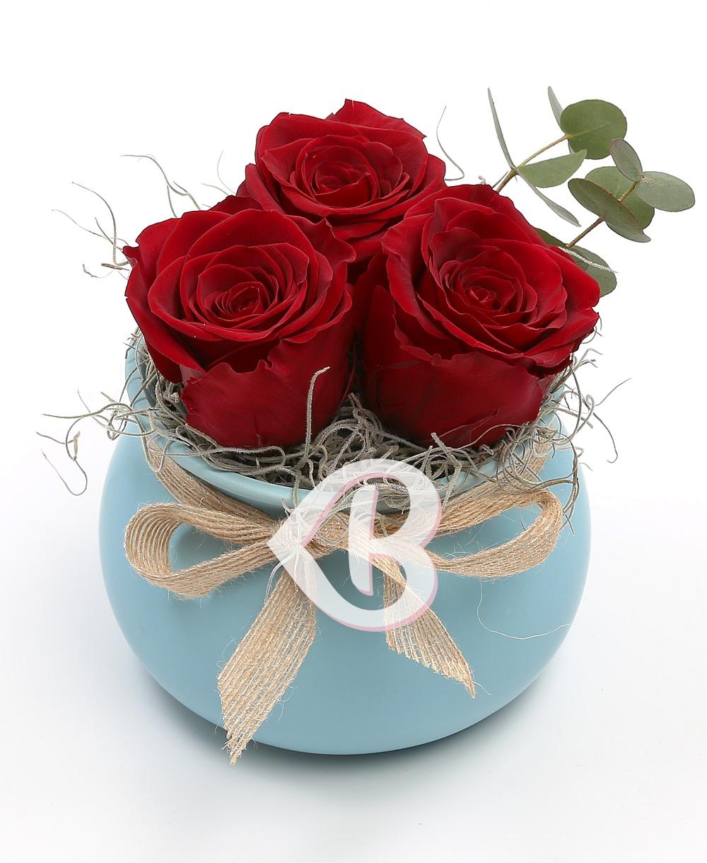 Imaginea produsului Vas Cu 3 Trandafiri Criogenați Roșii