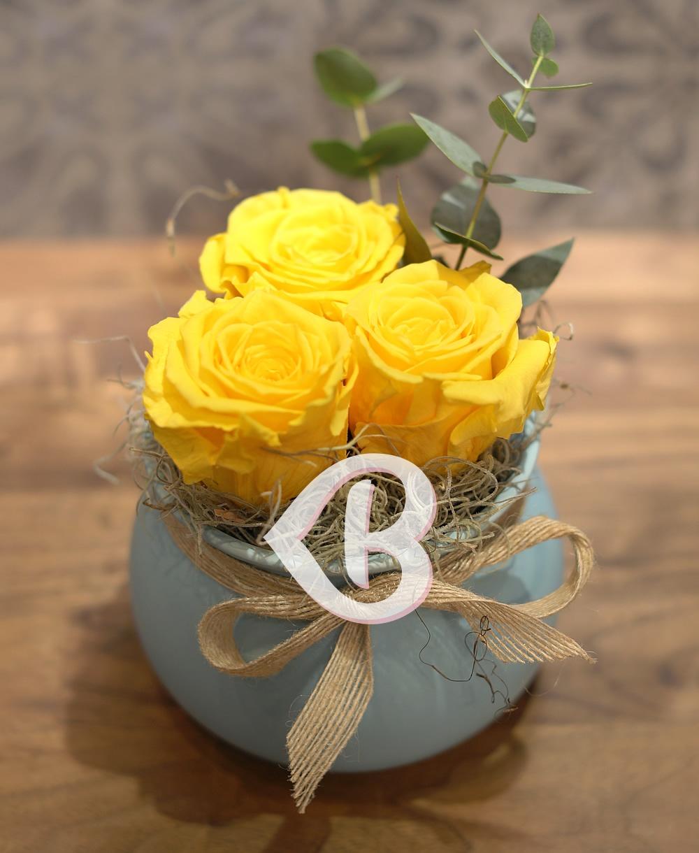 Imaginea produsului Vas Cu 3 Trandafiri Criogenați Galbeni