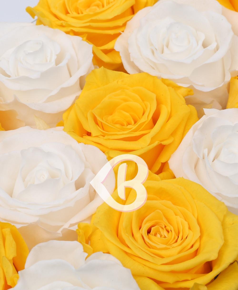 Imaginea produsului 15 Trandafiri Criogenați Albi Galbeni