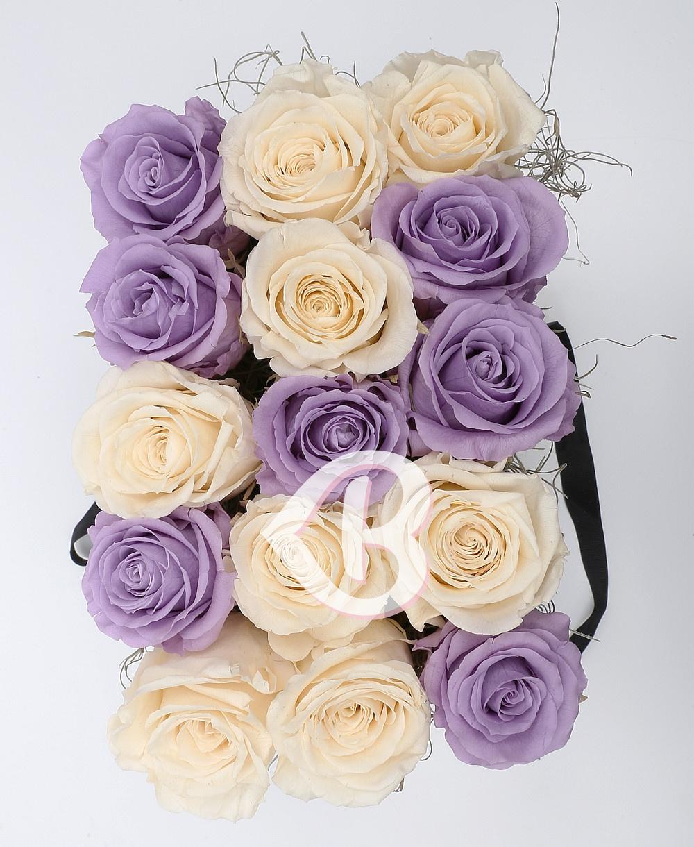 Imaginea produsului 15 Trandafiri Criogenați Mov Albi