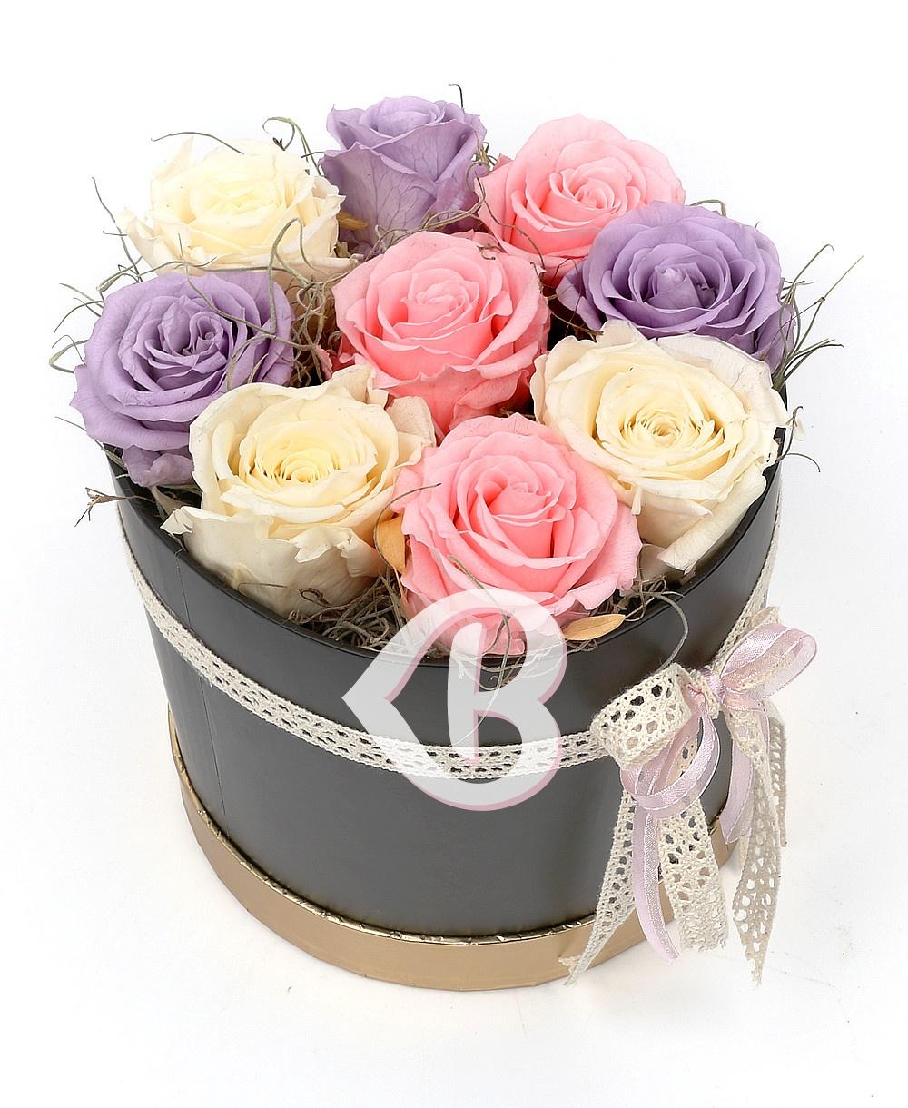 Imaginea produsului Cutie Cu 9 Trandafiri Criogenați Multicolori