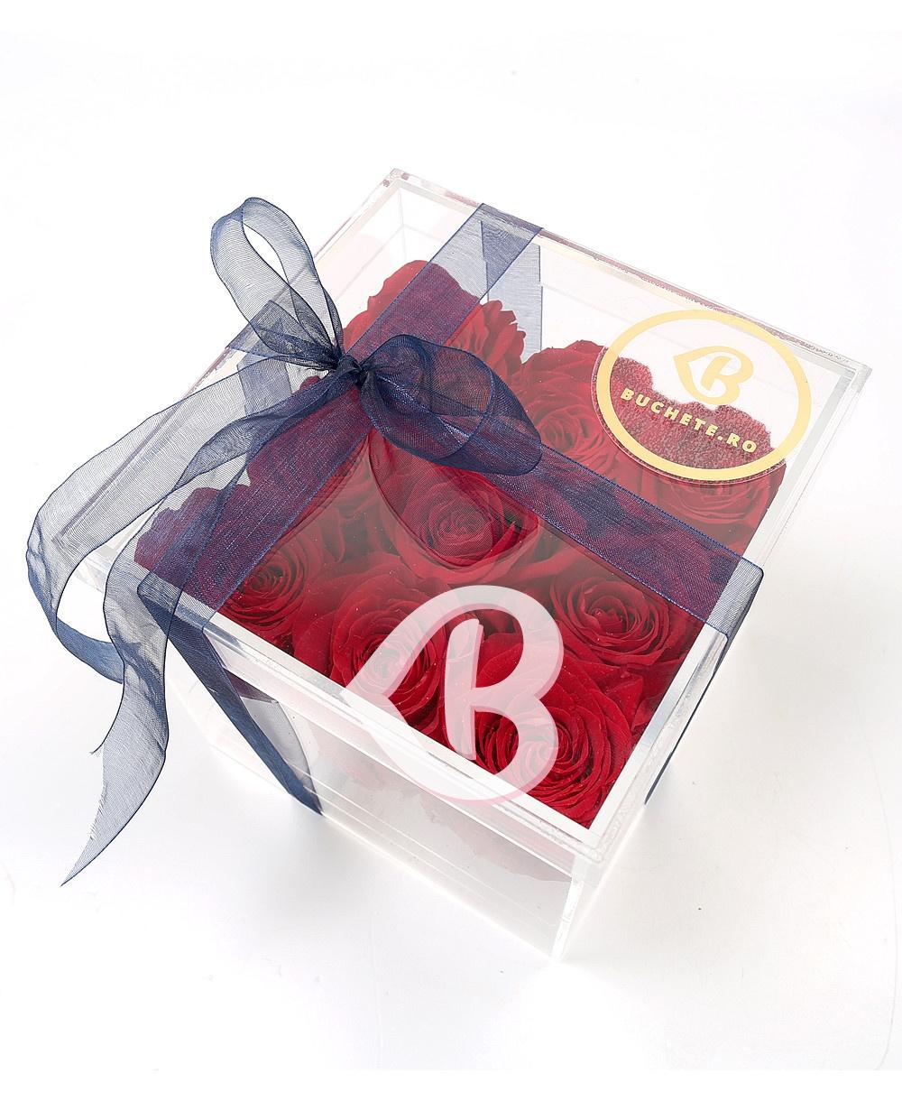 Imaginea produsului Cutie Acrilică Cu 9 Trandafiri Criogenați